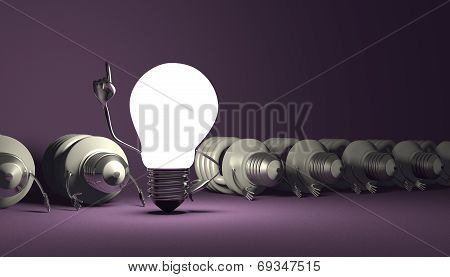 Tungsten Light Bulb Character Standing And Spiral Ones Lying