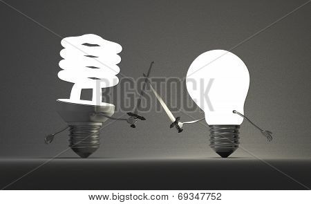 Glowing Spiral Light Bulb And Tungsten One Fighting Duel
