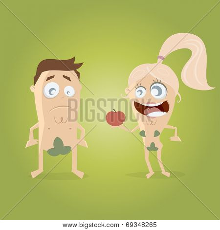 adam and eve with an apple