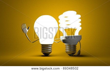 Different Light Bulb Characters With Their Arms Around Each Other