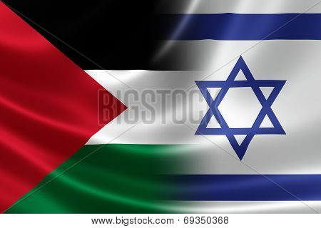 Close Up Of A Merged Israeli-palestinian Flag