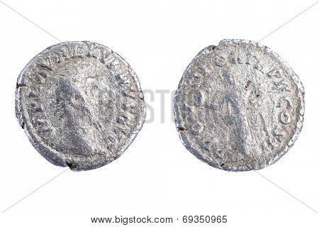 Silver denarius coins from Roman Emperor Lucius Verus