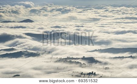 Morning Clouds Over Mountains, Forests And Villages