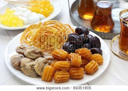 iranian tea and sweets, zoolbia, bamieh & dry fruits