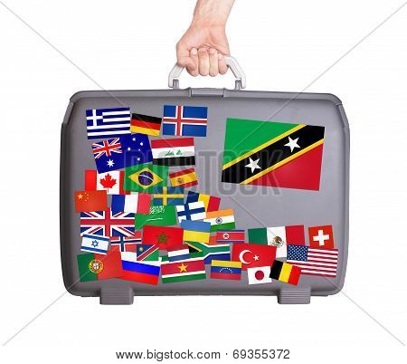 Used Plastic Suitcase With Stickers