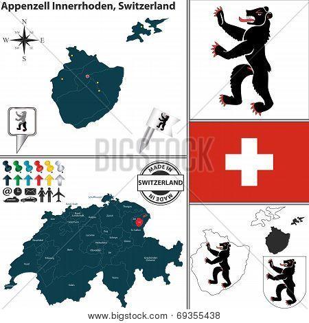 Map Of Appenzell Innerrhoden, Switzerland