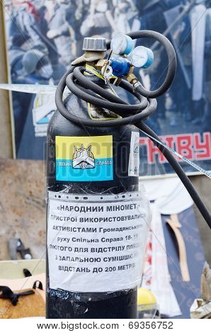 Maidan Nezalezhnosti square in Kiev after revolution 2013-2014,Closeup of protesters weapon - mortar