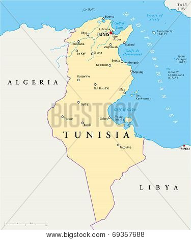 Tunisia Political Map