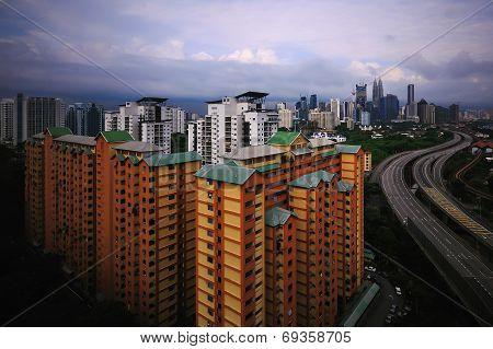 Kuala Lumpur metropolitan city during rainy day