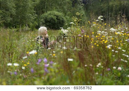 Woman in a flower field