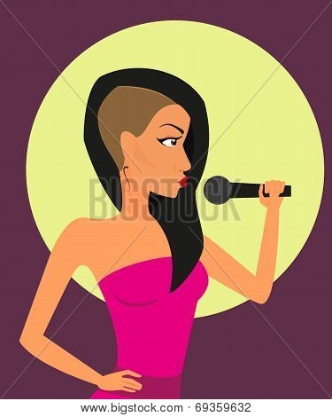 Female rock singer with microphone