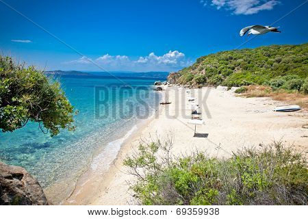 Beautiful Ouranoupolis sandy beach on Athos peninsula, Greece.