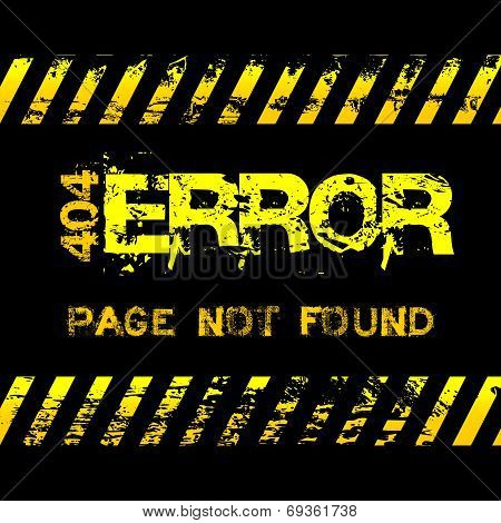 Page not found - error - grunge style yellow caution tapes illustration
