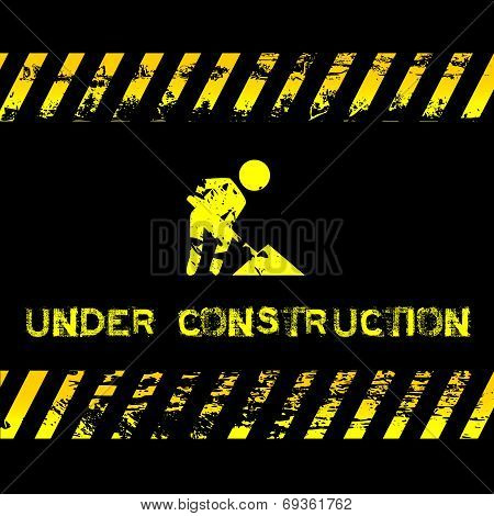 Under construction - grunge illustration with icon suitable for websites