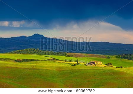 Fields and the hills of Tuscany