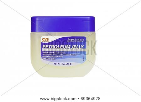 Hayward, CA - July 31, 2014: 13oz jar of CVS Pharmacy brand Petroleum Jelly