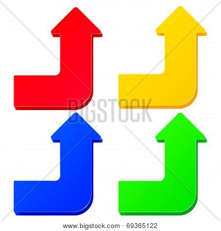 Set of simple colorful arrows