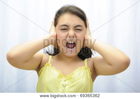 Stress. Young Woman Frustrated Pulling Her Hair On White