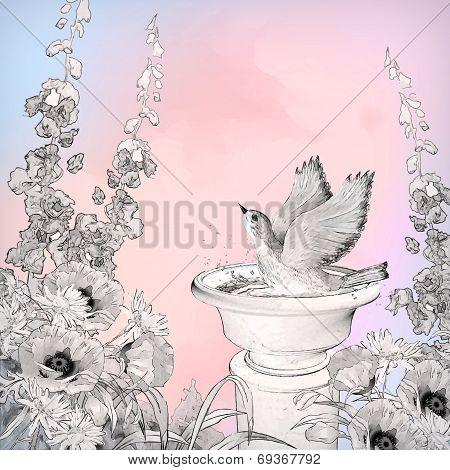 Vector Watercolor Bird Bath Sketch Flowers