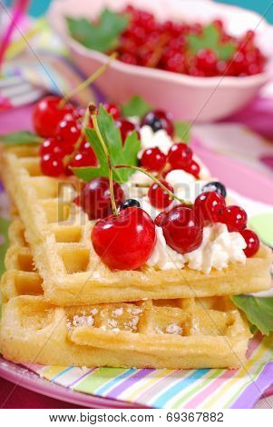 Waffles With Whipped Cream And Fresh Summer Fruits