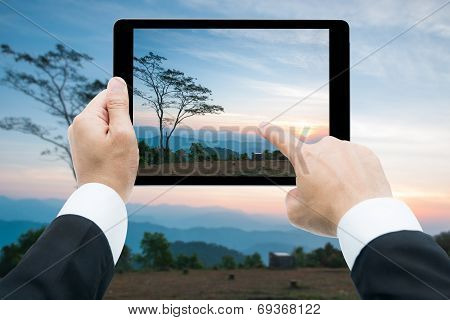 Businessman Hands Tablet Taking Pictures Majestic Sunset In The Mountains Landscape