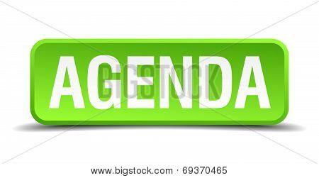 Agenda Green 3D Realistic Square Isolated Button