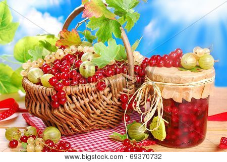 Basket Of Fresh Red,white Currant ,gooseberry And Jar Of Preserve