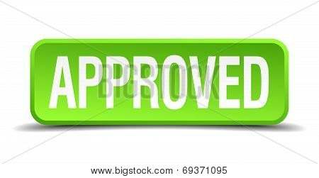 Approved Green 3D Realistic Square Isolated Button