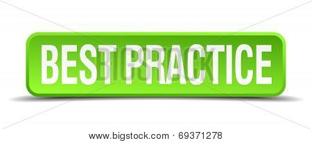 Best Practice Green 3D Realistic Square Isolated Button