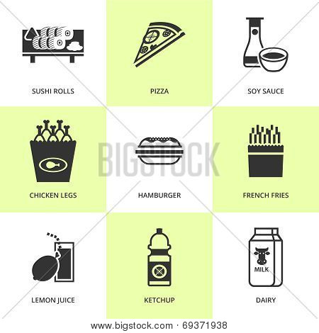 Set of black grocery and food icons.