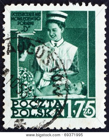 Postage Stamp Poland 1953 Nurse Instructing Mother