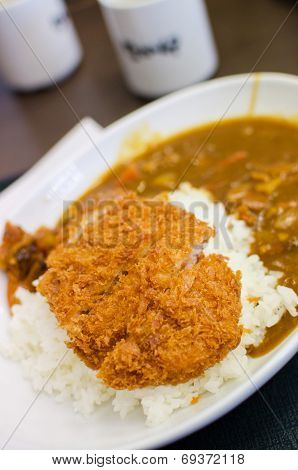 Curry Rice With Deep Fried Pork , Japanese Food