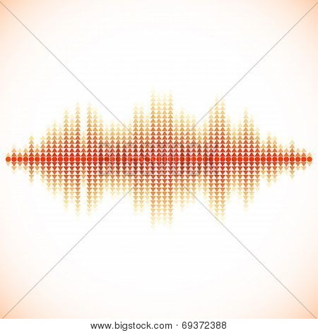 Red sound waveform with triangular arrows