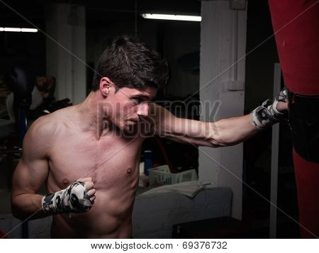 Young Caucasian Boxer Training