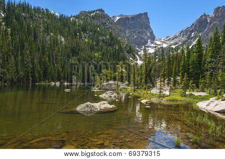 Dream Lake With Hallett Peak And Flattop Mountain