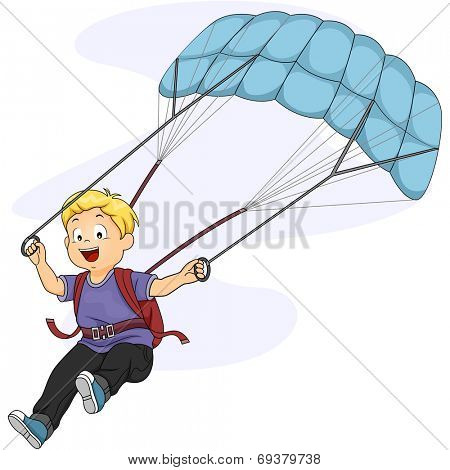 Illustration of a Little Boy Maneuvering His Parachute