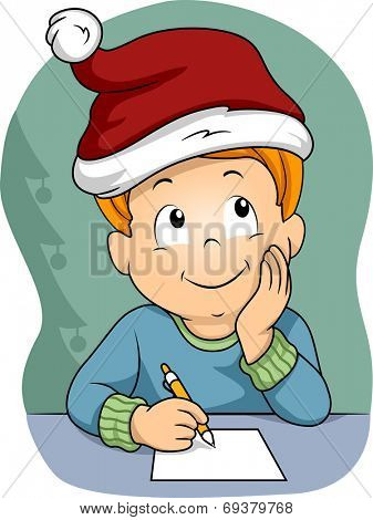 Illustration of a Little Boy Wearing a Christmas Hat Writing His Christmas Wish List