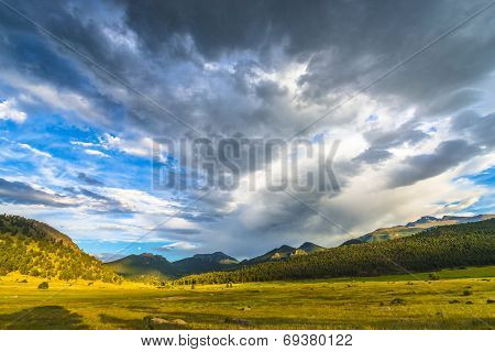 Beautiful Sunset In Moraine Park Colorado Rockies