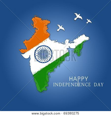 Republic of India Map covered with national tricolors and Asoka Wheel, Flying pigeons on blue background for Indian Independence Day celebrations.