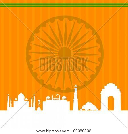 Famous monuments of India Taj Mahal, Red Fort, Qutub Minar, Lotus Temple and India Gate on Asoka Wheel on saffron color background.