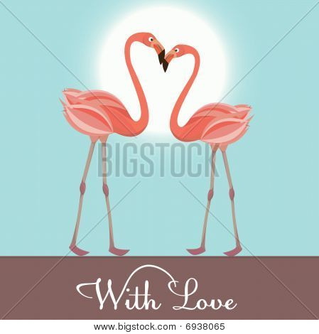 Flamingo in  love for you. Vector Illustration