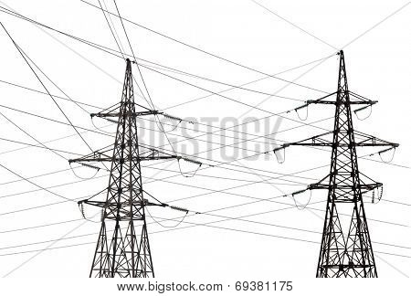 two electrical steel pylons isolated on white background