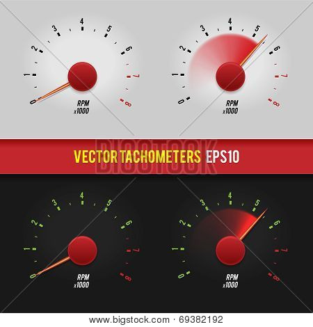 Vector tachometers glossy style modern illustration.
