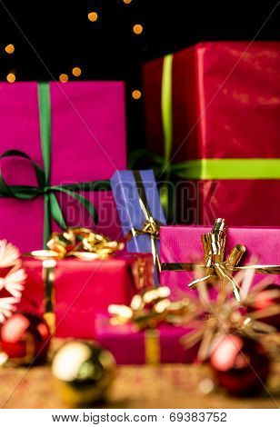 Six Wrapped Christmas Gift Boxes