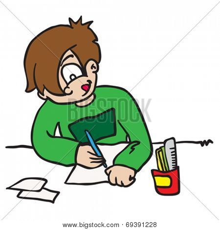 cartoon illustration of a boy writing letter isolated on white