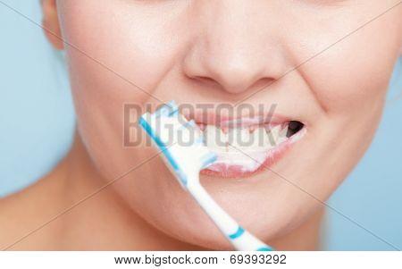 Girl Brushing Teeth. Dental Care Healthy Teeth.