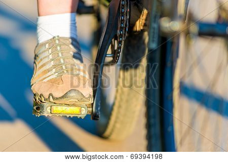 Foot Girl In Sneakers On A Bicycle Pedal