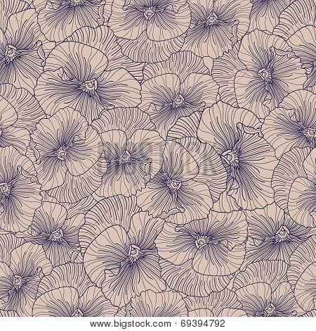 Seamless Purple Pansy Pattern On Beige Background.