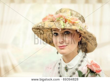 Adult Woman With Tapestry Hat