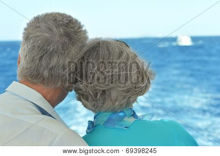 Elder couple looking a sea together
